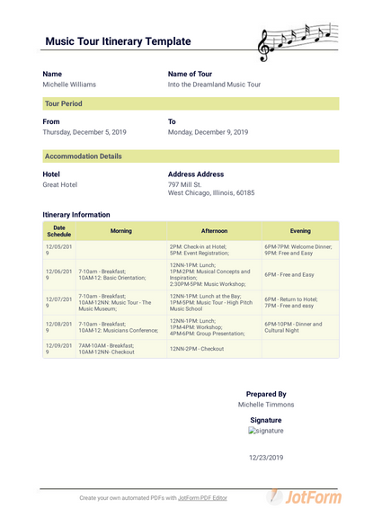 Music Tour Itinerary Template