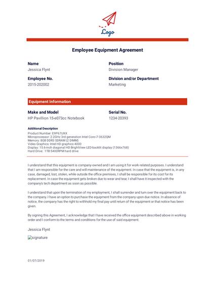 Employee Equipment Agreement