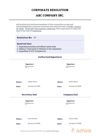 Corporate Resolution Form