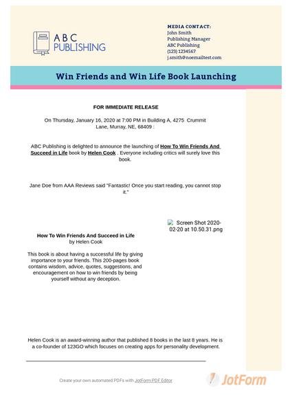 Book Press Release Template