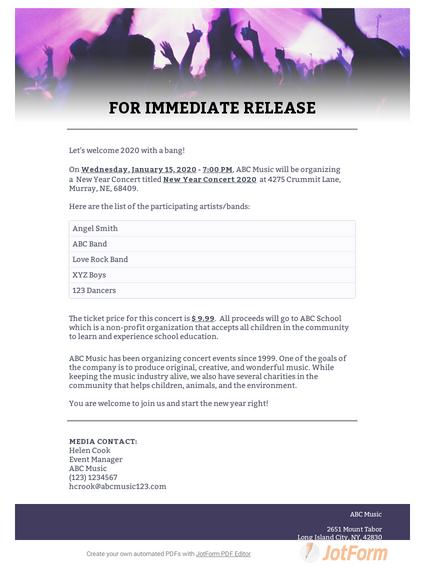 Concert Press Release Template