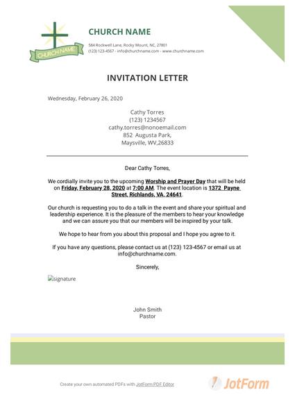 Church Invitation Letter