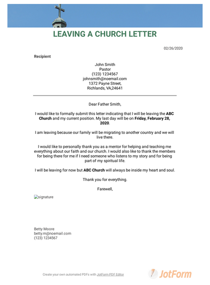 Leaving a Church Letter