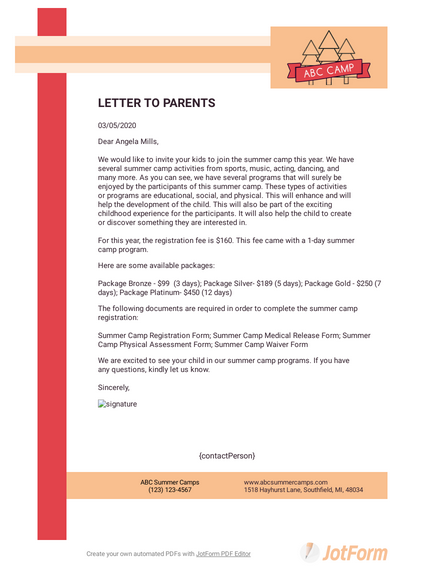 Summer Camp Letter to Parents Template