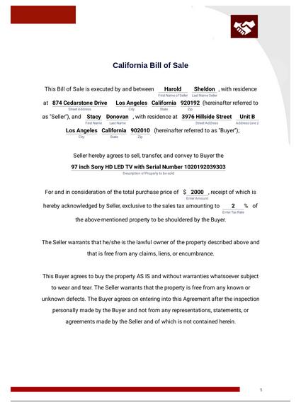 California Bill of Sale