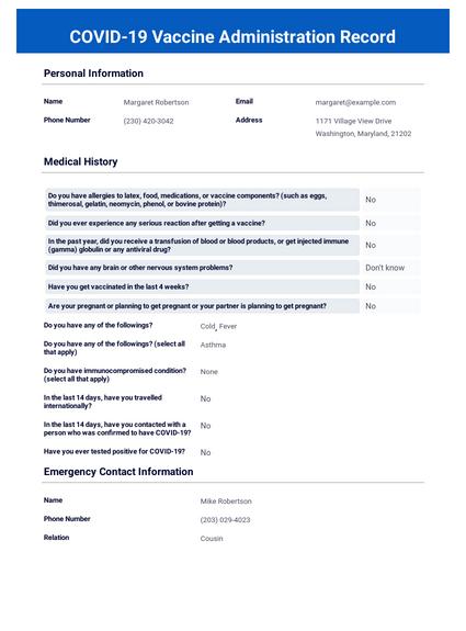 COVID-19 Vaccine Administration Record