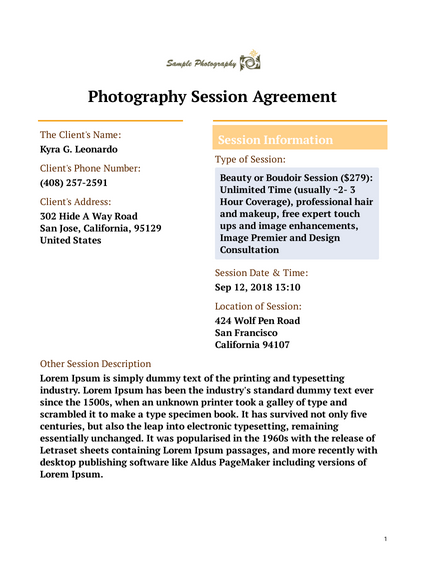 Photography Session Agreement Template