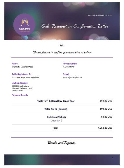 Gala Reservation Confirmation Letter