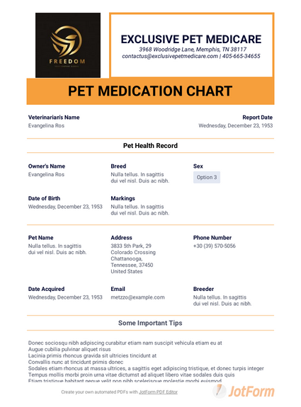 Pet Medication Chart Template