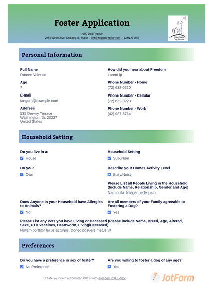 Foster Application Template