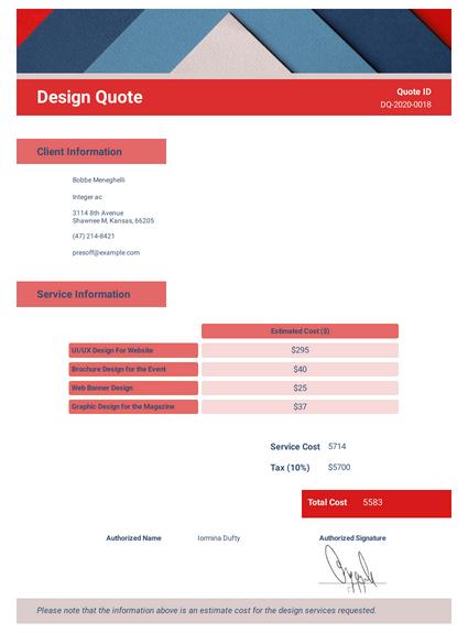 Design Quote Template
